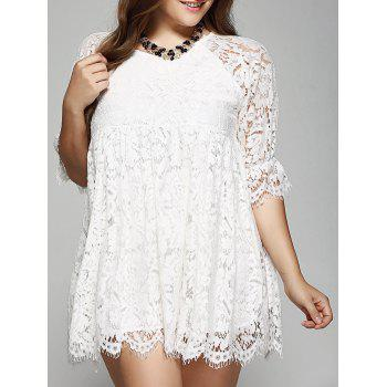 Oversized A-Line Scalloped Edge Lace Dress