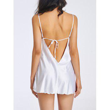 Charming Cami Lace Splicing Backless Women's Babydoll - WHITE XL