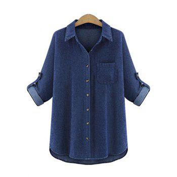 Chic Pocket Design Denim Shirt For Women
