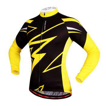 Hot Sale Spring Outdoor Long Sleeves Lightning Pattern Cycling Jersey - YELLOW/BLACK M