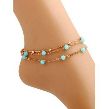 Beads Layered Leg Gemstone Anklets - GOLDEN GOLDEN
