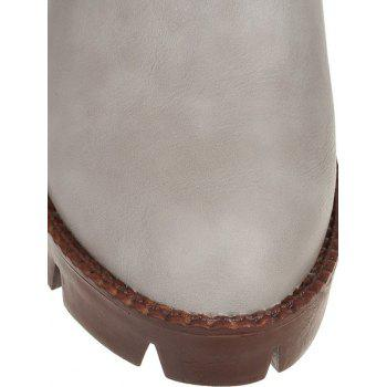 Fashionable Stitching and Elastic Band Design Women's Ankle Boots - GRAY 38
