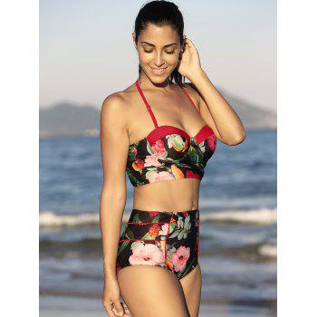 Floral Bustier Bikini Top and High Waisted Bottoms - BLACK XL