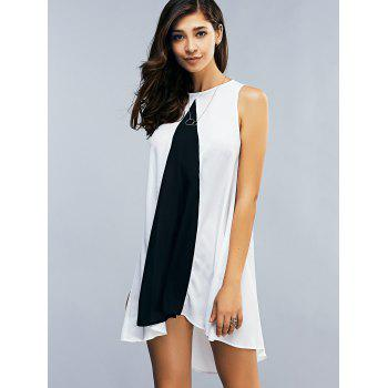 Two Tone Chiffon Tank Tunic Dress - S S