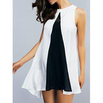 Two Tone Chiffon Tank Tunic Dress - WHITE AND BLACK S