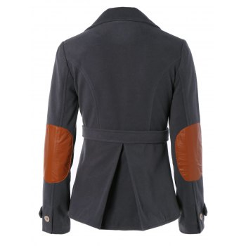 Chic Lapel Buttoned Elbow Faux Leather Spliced Swallow-Tailed Jacket For Women - DEEP GRAY L