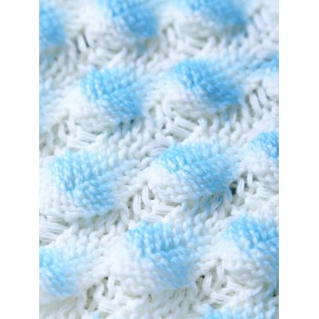 Chic Crochet Shell Deisgn Knitting Mermaid Tail Shape Blanket For Kids - BLUE/WHITE