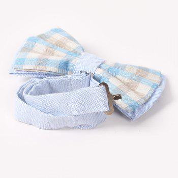 Stylish Tartan Pattern Banquet Wedding Party Double-Deck Bow Tie - LIGHT BLUE