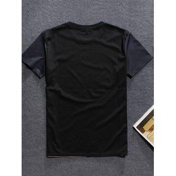 3D Mountain Printed Round Neck Men's Short Sleeve T-Shirt - BLACK 2XL