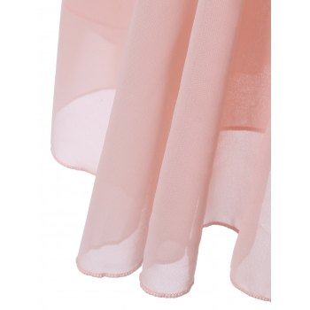 Petal Sleeve Knee Length Chiffon Pastel Pleated Dress - PINK XL