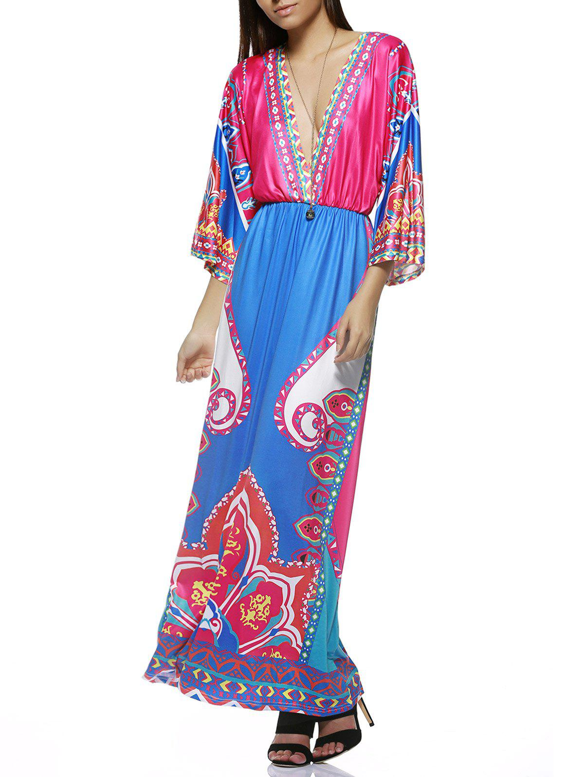 Bohemian Plunge Neck Tribal Print Colorful Maxi Dress - COLORMIX ONE SIZE