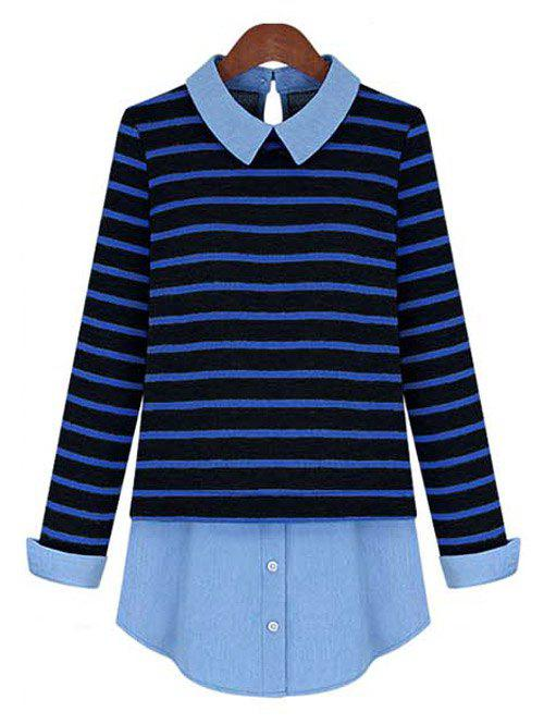 Stylish Striped Patchwork Shirt For Women - BLUE/BLACK XL
