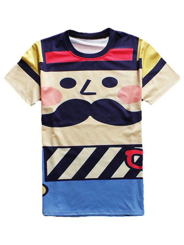 Cartoon Print Round Neck Short Sleeve Men's T-Shirt - COLORMIX 2XL