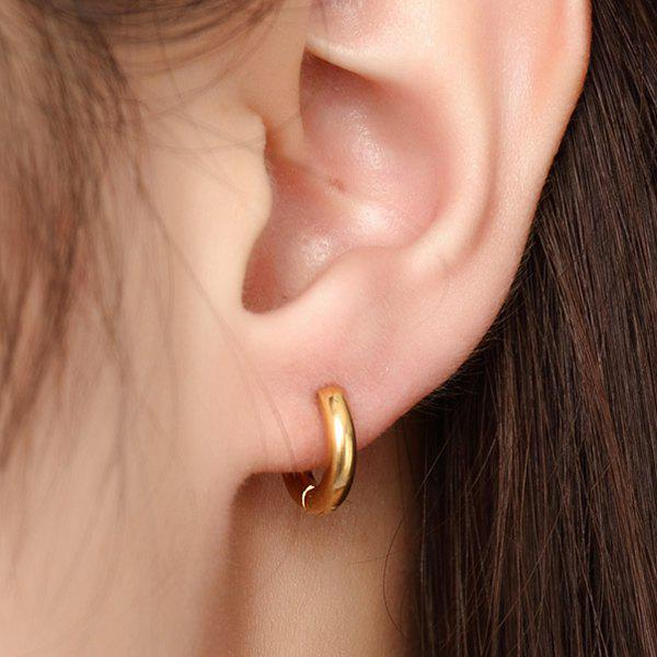Pair of Fashion Gold Plated Solid Color Micro Hoop Earrings For Women