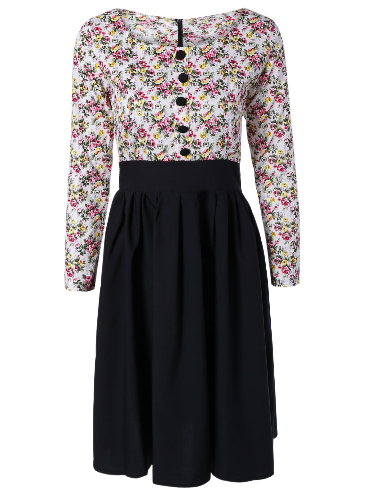 Vintage Long Sleeve Floral Print Pin Up Dress