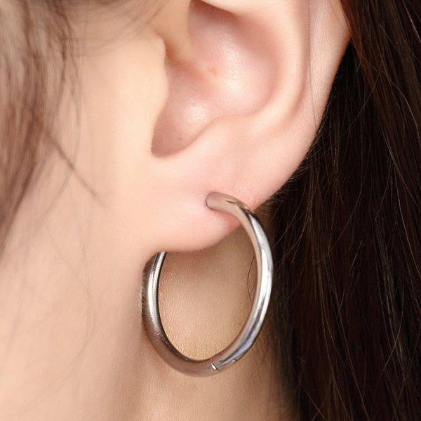 Pair of Brief Solid Color Middle Hoop Earrings For Women