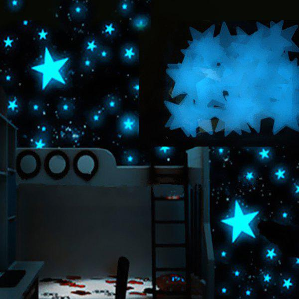 Chic 3CM 100Pcs Dark Blue Stars Glow In The Dark Plastic Wall Stickers mymei 100pcs wall stickers decal glow in the dark baby kids bedroom home decor color stars luminous fluorescent wall stickers decal