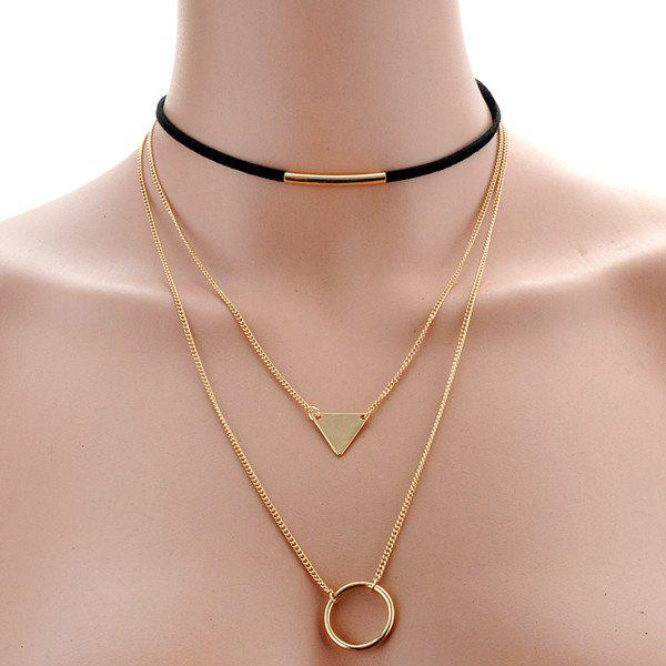 Graceful Triangle Circle Necklace For Women -  BLACK