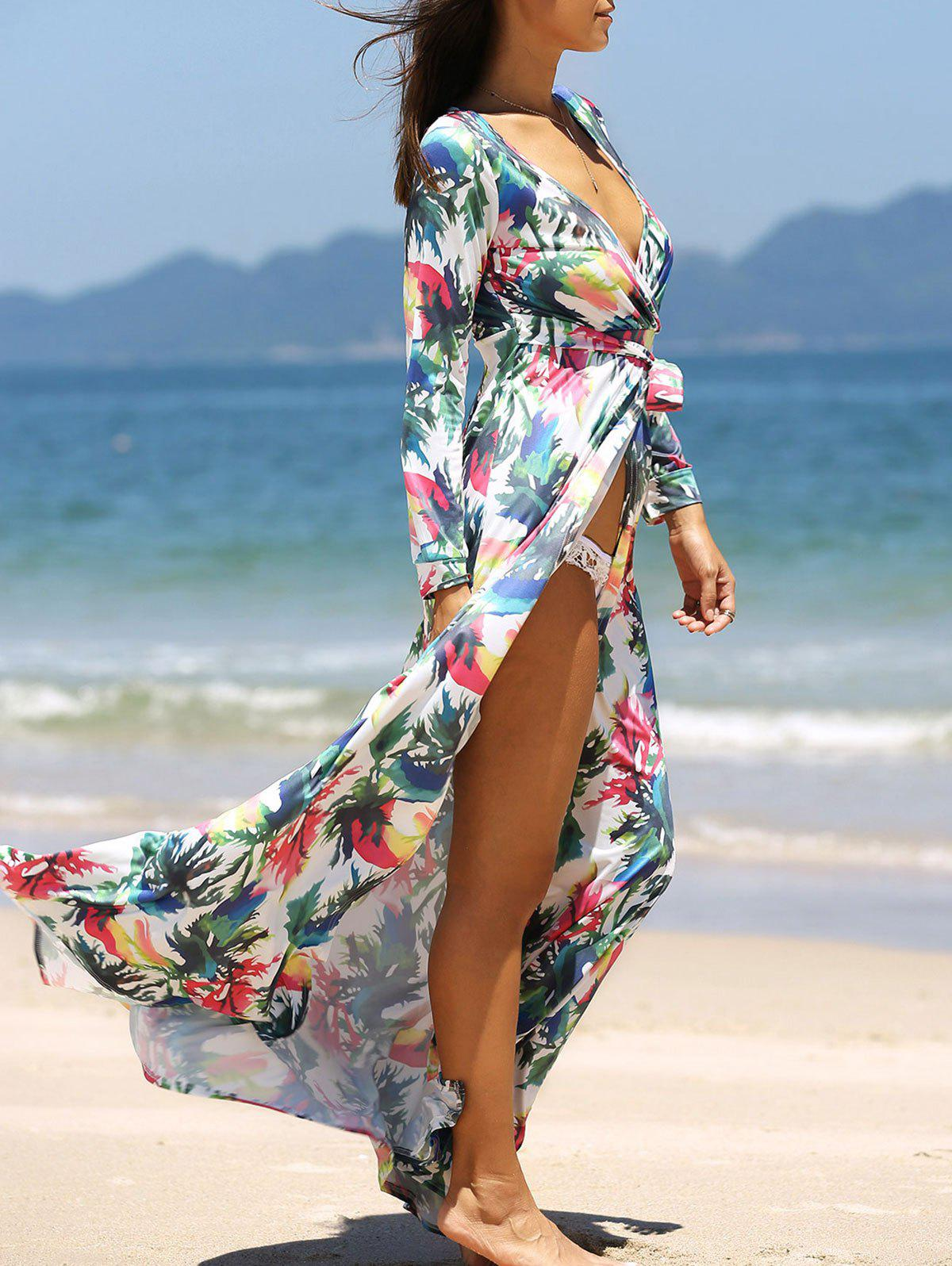 Alluring Plunging Neck Floral Wrap Dress For Women