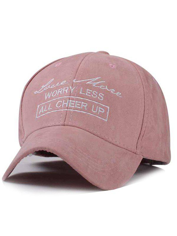 Retro Street Fashion Handwritten Lettre broderie Faux Suede Baseball Hat - Rose Pâle