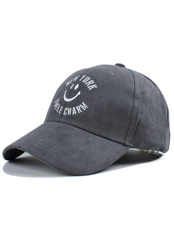 Mordern Street Fashion Smilling Face Letter Embroidery Faux Suede Baseball Hat - GRAY