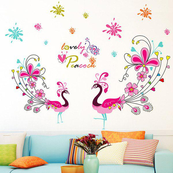 Chic 1 Pcs Love Peacock Living Room PVC Removable Wall Stickers - COLORMIX