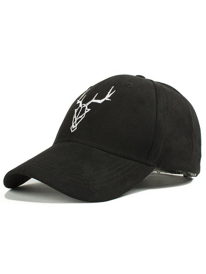 Retro Street Fashion Elk Head Embroidery Faux Suede Baseball Hat - BLACK