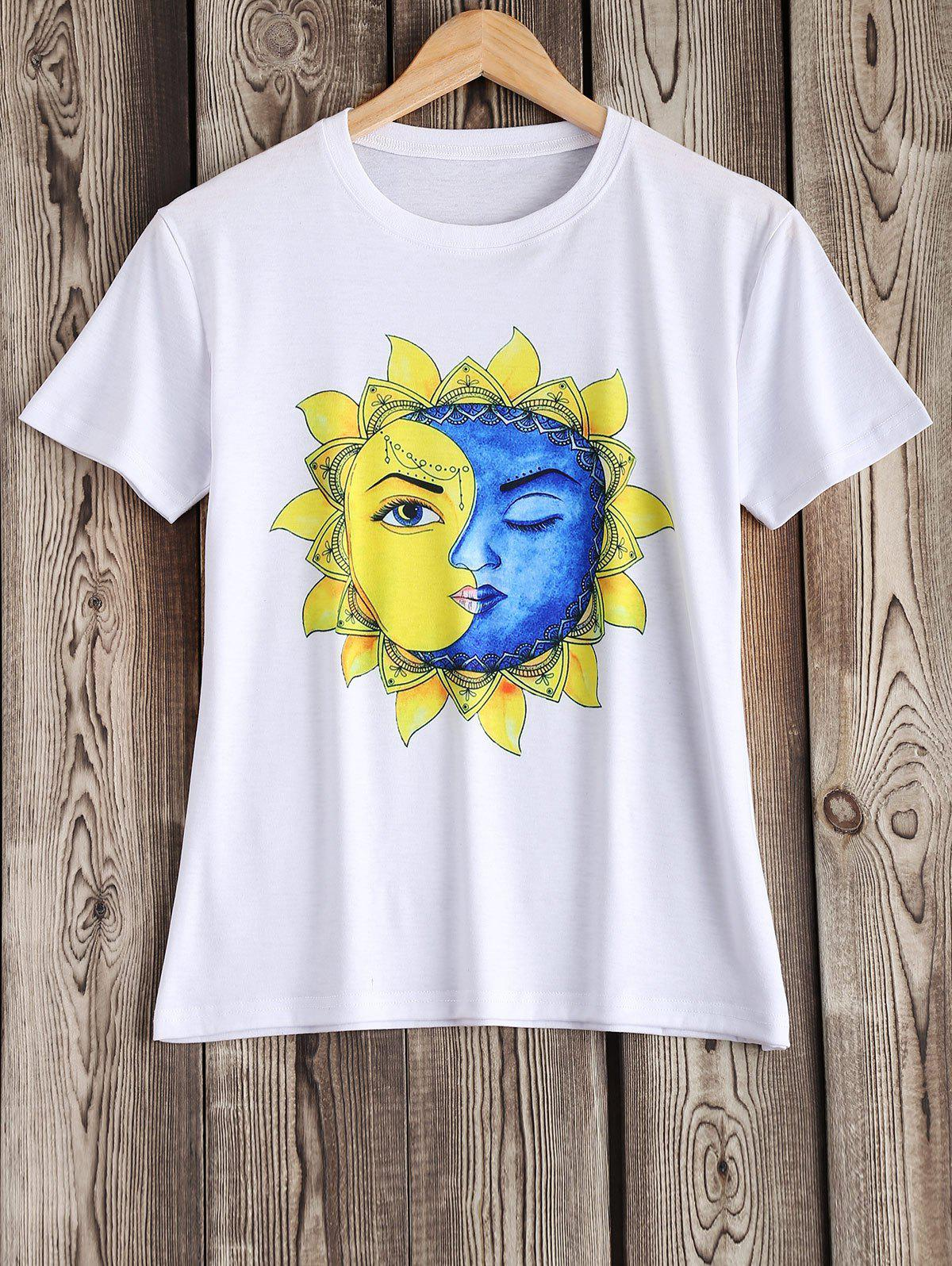 Artistic Sun and Moon Pattern Tee - WHITE XL
