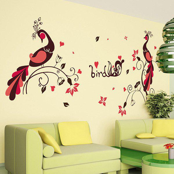 Chic 1 Pcs Love Bird Peacock PVC Removable Wall Stickers - COLORMIX