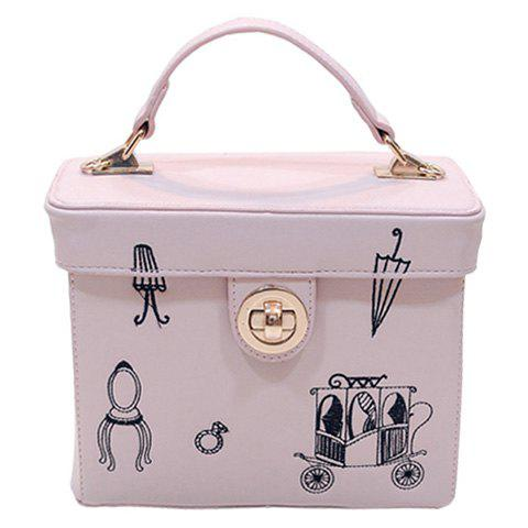 Stylish PU Leather and Print Design Women's Tote Bag - PINK