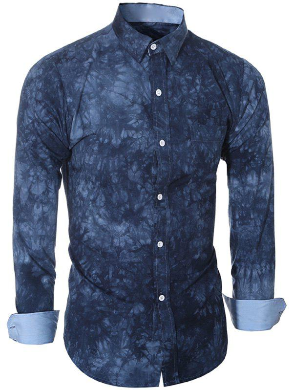 Turn-Down Collar Long Sleeve Ethnic Tie-Dyed Shirt For Men contrast pocket long sleeve tie dye design button down shirt