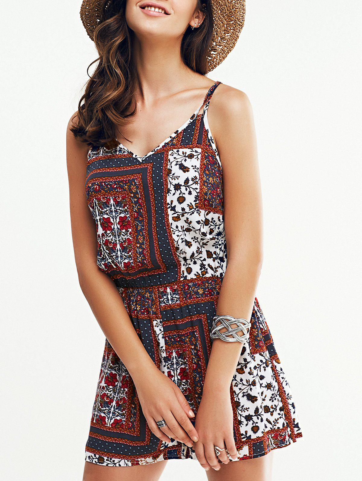 Chic Open Back Print Romper For Women - COLORMIX XL