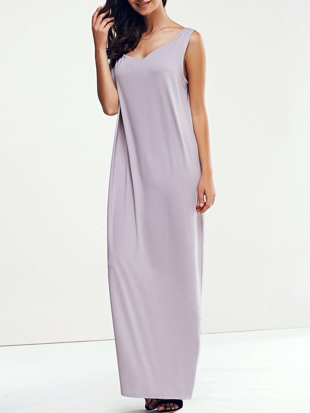 Casual Women's Skew Collar 3/4 Sleeve Straight Solid Color Maxi Dress