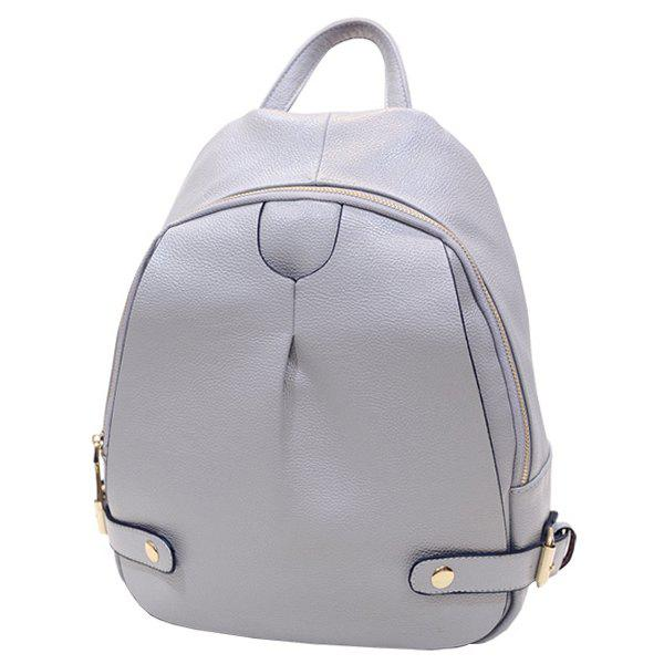 Fashionable Metal and Solid Colour Design Women's Backpack - LIGHT GRAY