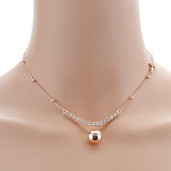 Rhinestoned Alloy Ball Choker Necklace -  GOLDEN