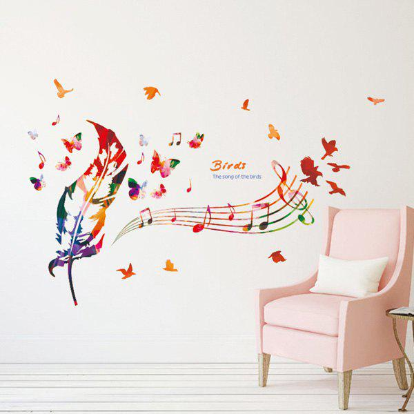 Creative Removable Waterproof Music Score Feather Wall Stickers - COLORMIX