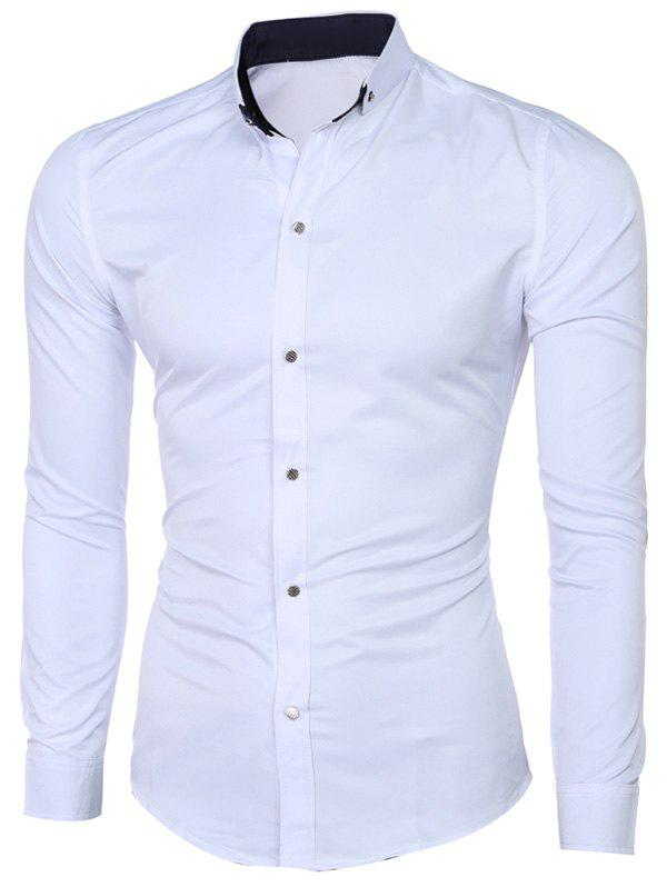 Classic Button-Down Collar Long Sleeves Pure White Shirt For Men
