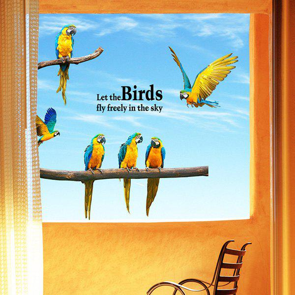 Energetic Removable Waterproof Macaw Wall Stickers - COLORMIX