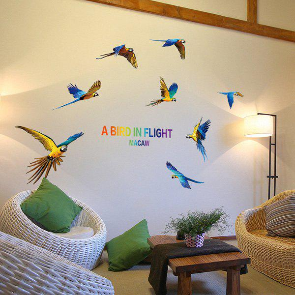 Colourful Removable Waterproof Macaw Wall Stickers