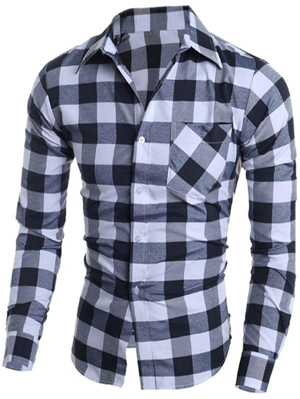 Classic Plaid Turn-Down Collar Long Sleeves Shirt For Men