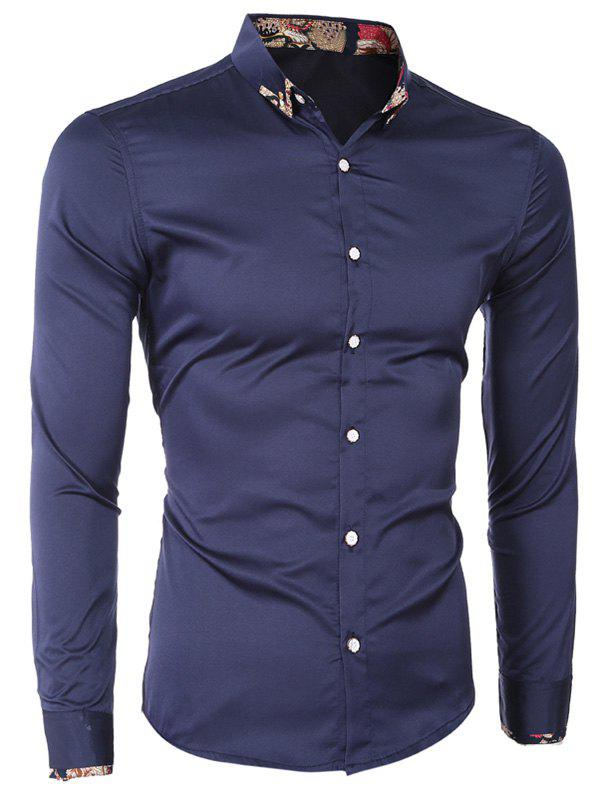 Printed Hem Spliced Turn-Down Collar Long Sleeves Shirt For Men