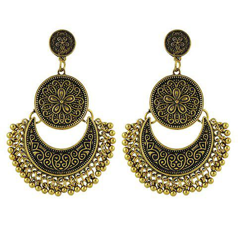 Pair of Moon Beads Earrings - GOLDEN