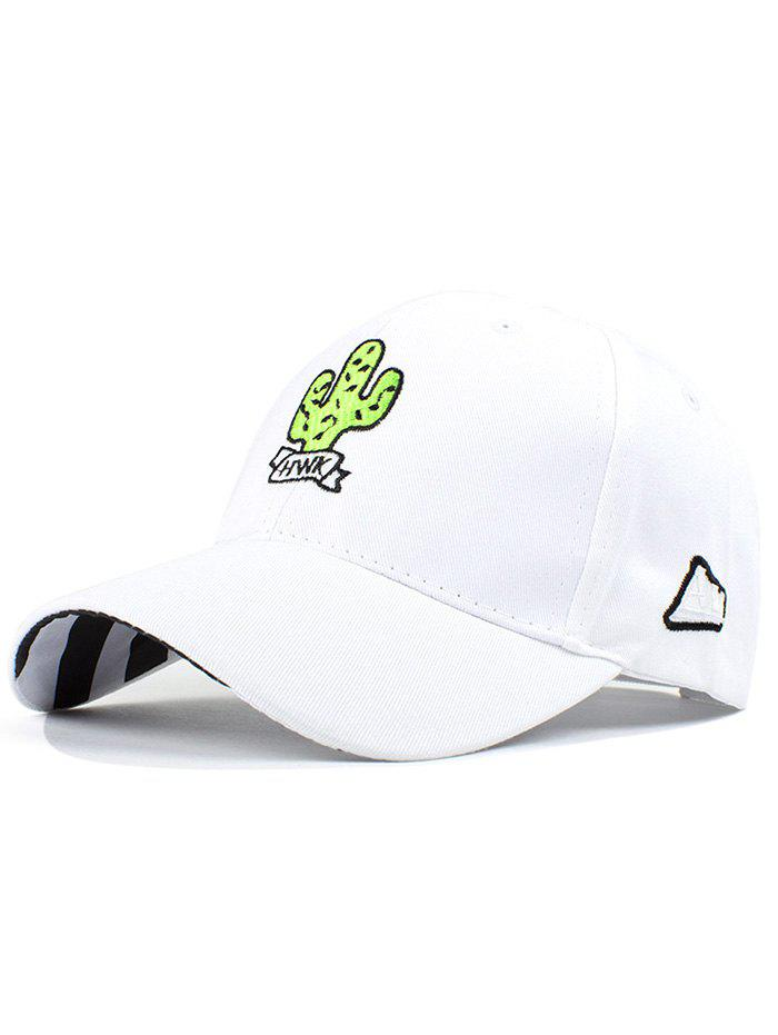 Street Fashion Cactus Embroidery Women's Baseball Hat - WHITE