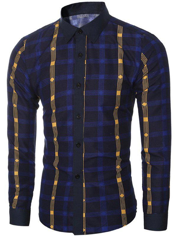 Stylish Checked Long Sleeve Shirt For Men - 2XL DEEP BLUE