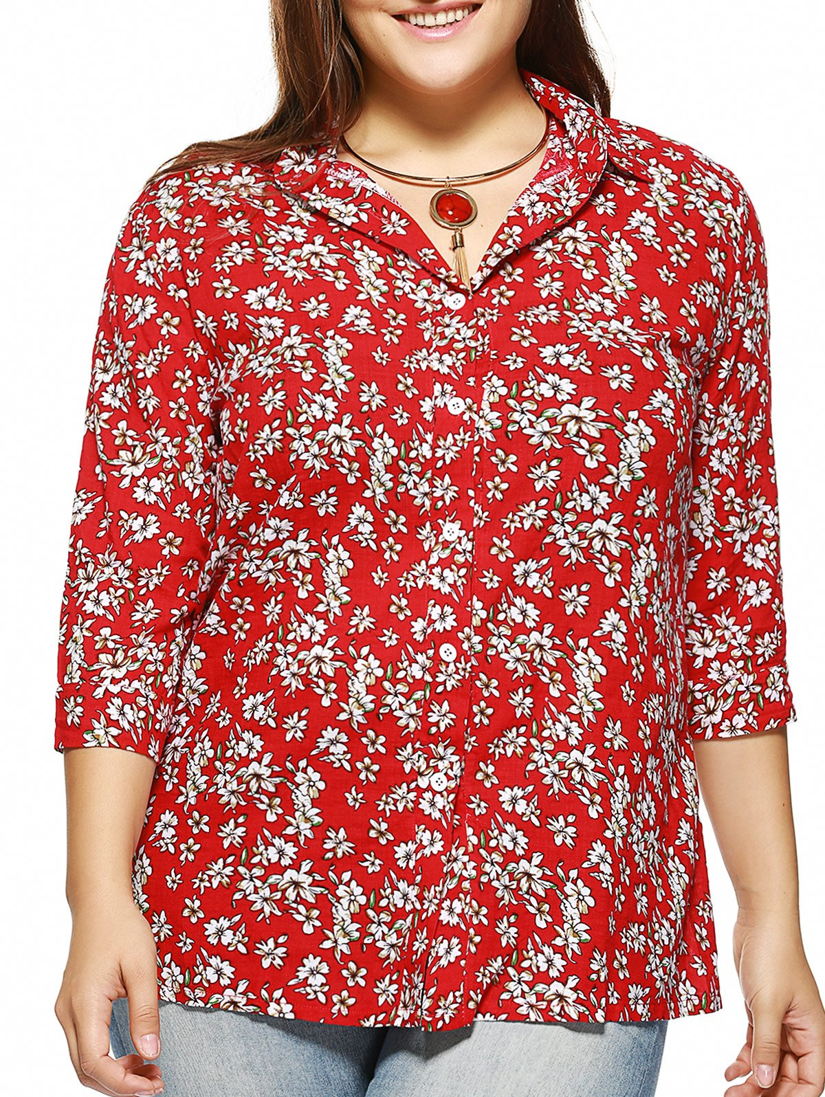 Plus Size Tiny Floral Print Shirt - RED 3XL