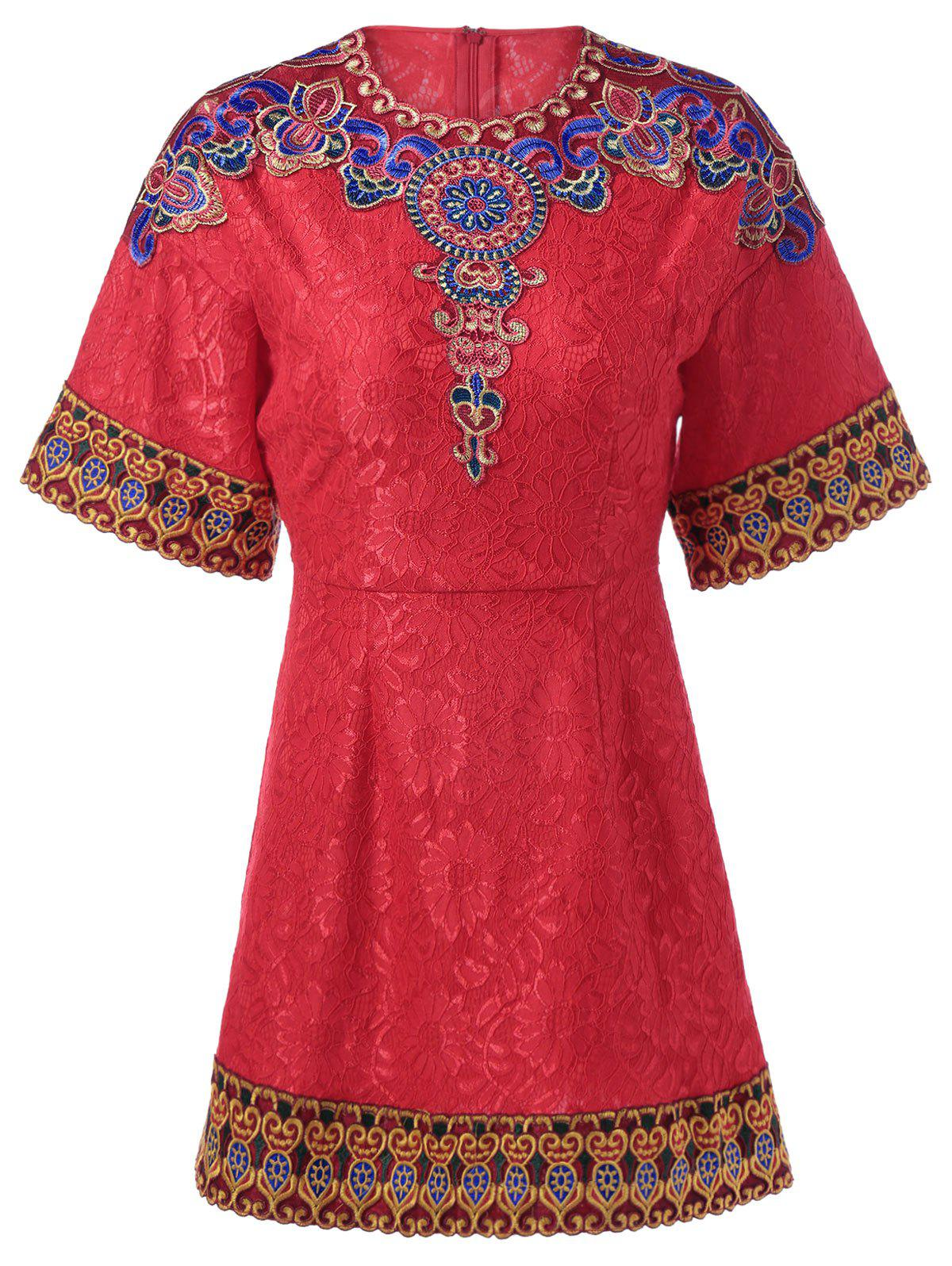 Ethnic Jacquard Embroidery Dress - RED L