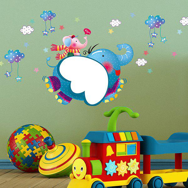 Cute Children's Room Cartoon Elephant Removable Wall Stickers - COLORMIX