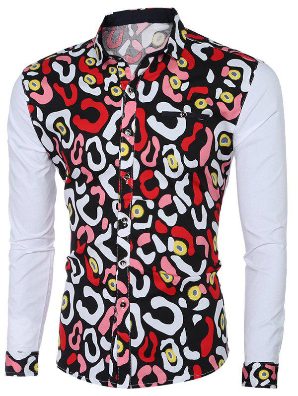 Fashion Printed Turn-Down Collar Long Sleeve Shirt For Men - COLORMIX 2XL