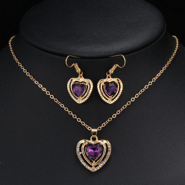 A Suit of Charming Heart Wedding Jewelry Set For Women