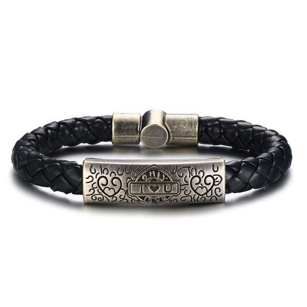 Delicate Woven Black Faux Leather Carved I Love You Signs Alloy Bracelet For Men